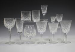 A Waterford Lismore pattern part suite of glassware, comprising six flutes, ten hock glasses, six