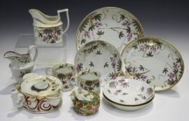 A mixed group of Staffordshire pottery and porcelain, 19th century, including a John Rose Coalport