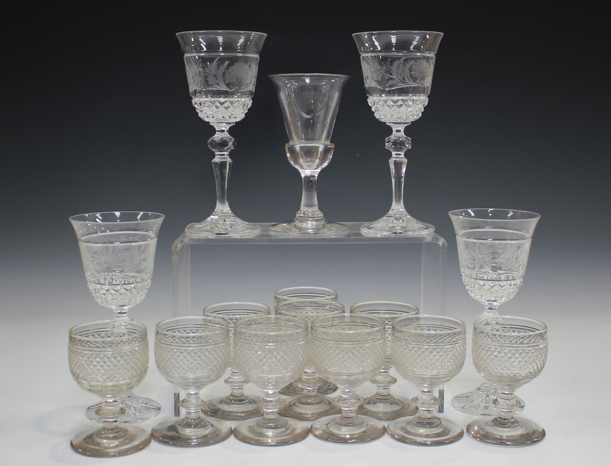 A plain stem wine glass, mid-18th century, with subtle bell bowl and conical foot, height 15.8cm, - Image 2 of 5