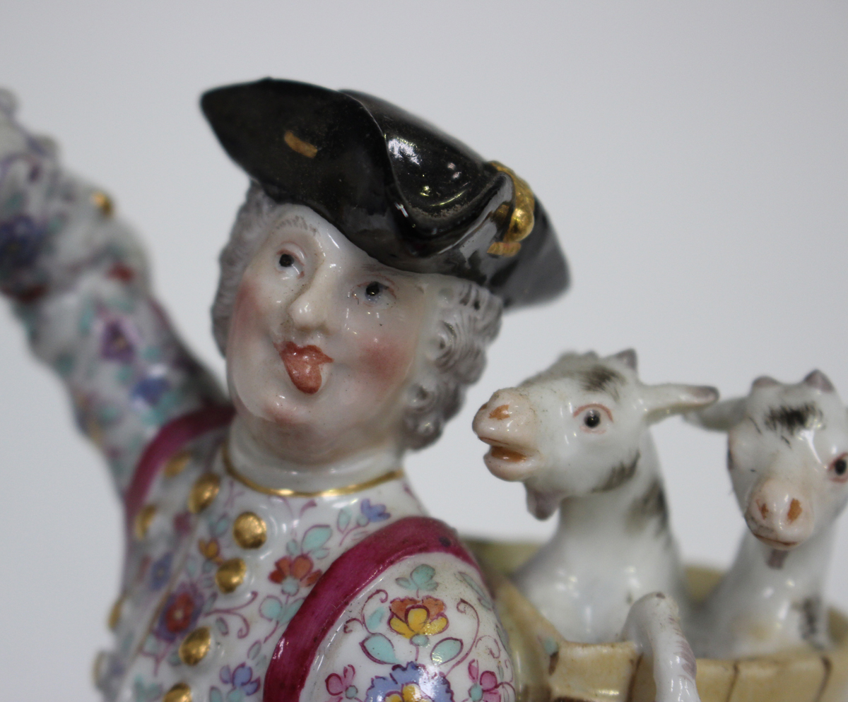 A Continental porcelain figure, modelled as Count Bruhl's Tailor, late 19th century, after the - Image 4 of 7