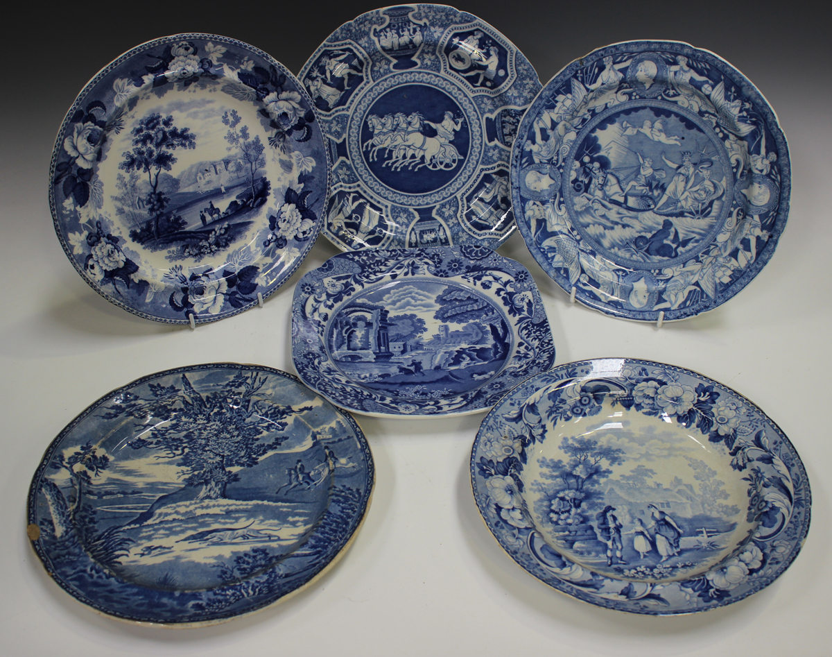 Two Rogers pearlware blue printed plates, circa 1820, in the Elephant and Zebra patterns, diameter - Image 3 of 7