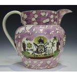 A large Sunderland lustre jug, 19th century, of typical Dutch shape with mottled pink ground,