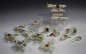 A group of First World War related crested china, mostly aeroplanes, including a Carlton China
