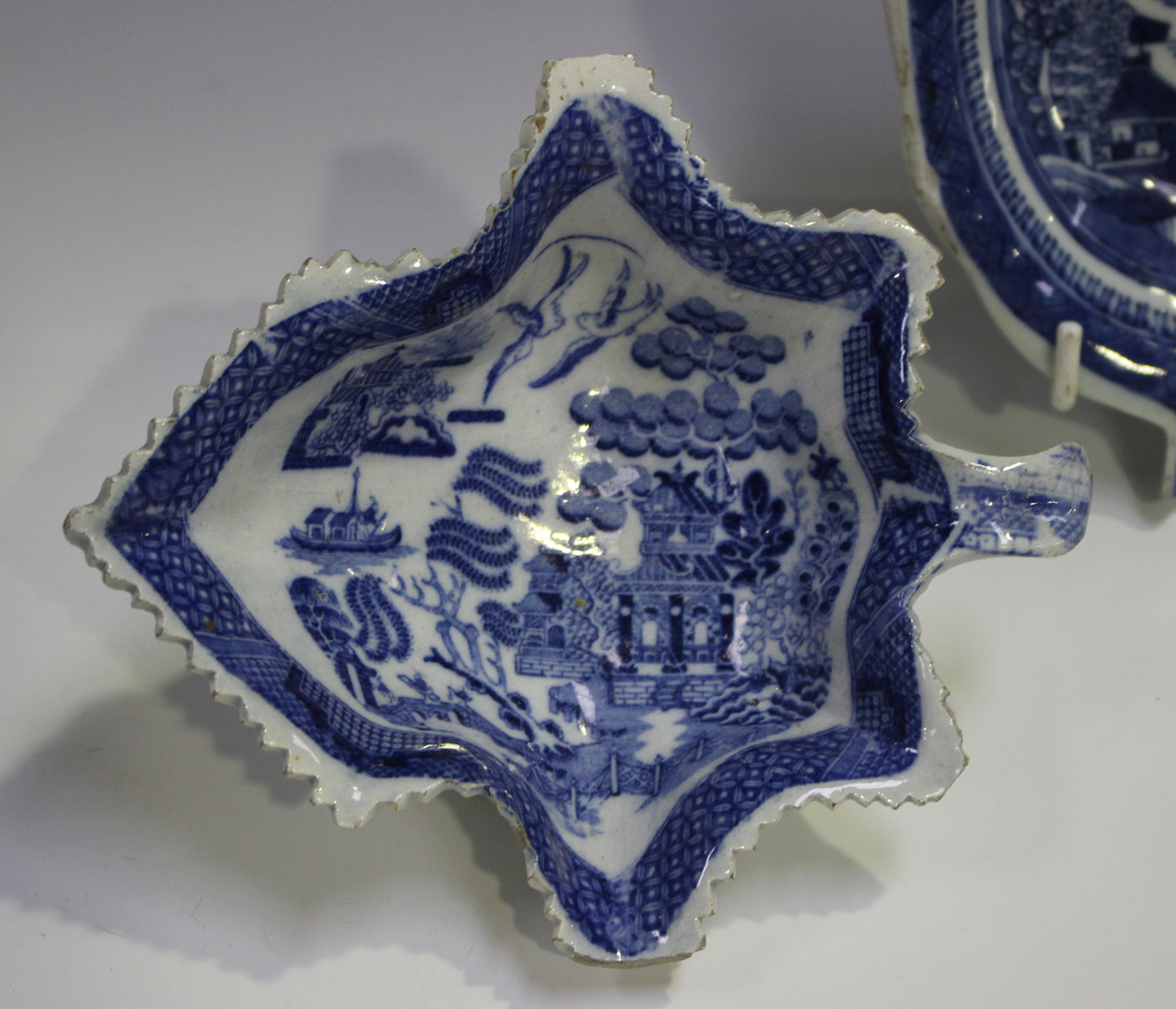 A pair of pearlware leaf shaped pickle dishes, late 18th/early 19th century, length 13.4cm, - Image 7 of 12