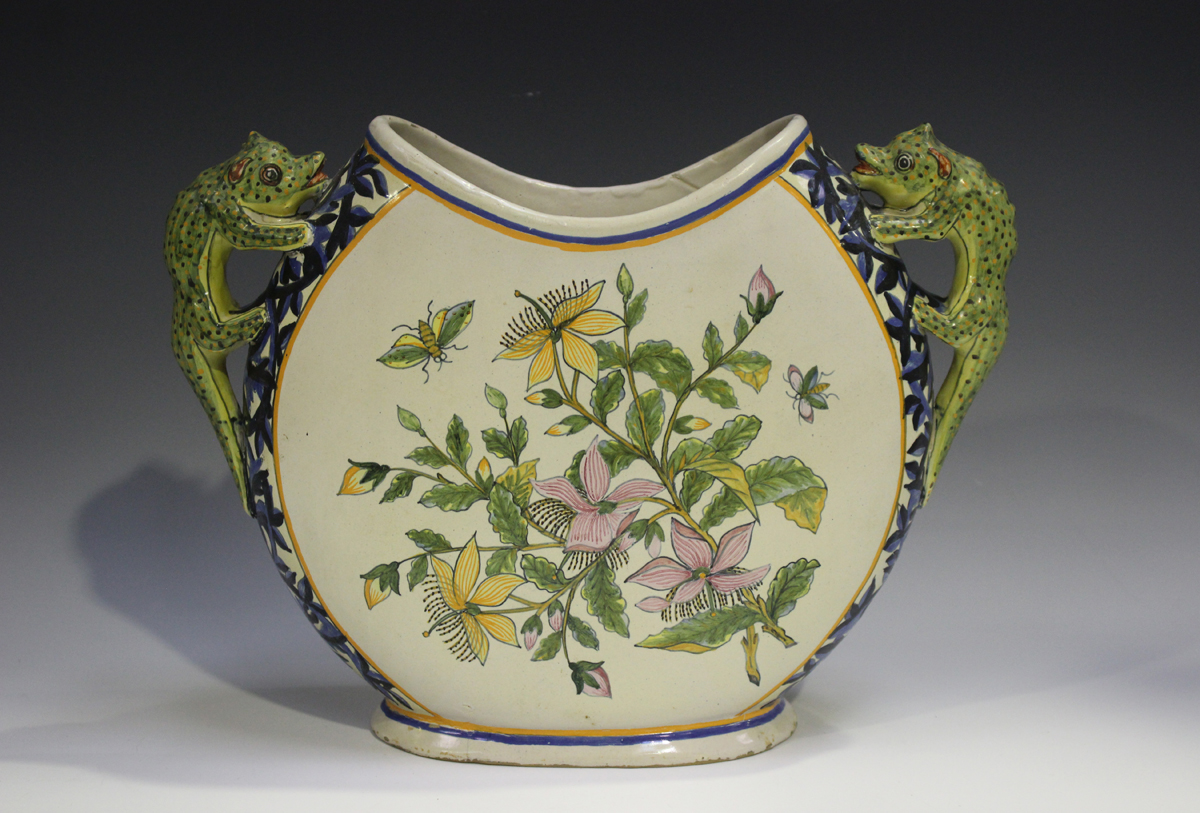 A Porquier Quimper two-handled vase, 1895-1903, the flattened body decorated with a countryside - Image 8 of 8