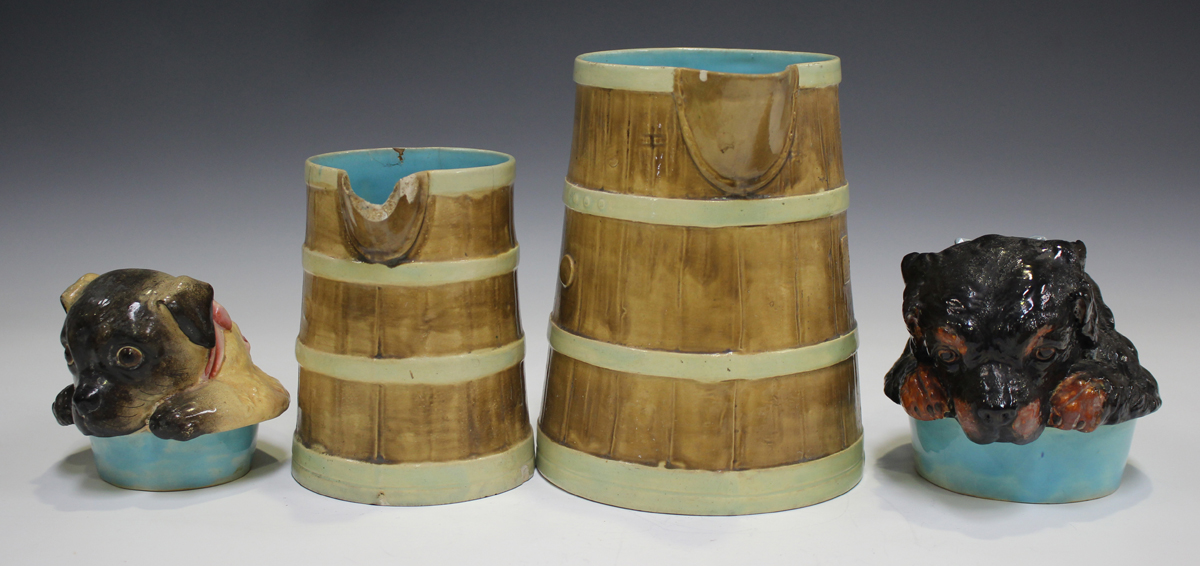 A Continental majolica jug and cover, late 19th/early 20th century, of coopered tapering cylindrical - Image 10 of 12