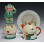 A Shelley Boo Boo three-piece nursery tea set, 1930s, designed by Mabel Lucie Attwell, comprising