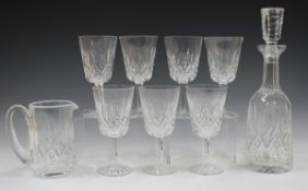 A Waterford Lismore pattern part suite of glassware, comprising seven water goblets, nine white wine