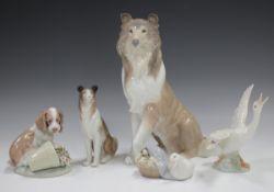 Five Lladro animals, comprising It wasn't me, No. 7672, Collie, No. 6455, Collie, No. 1316,