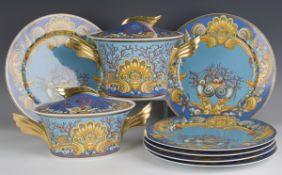 A Rosenthal 'Les Trésors de la Mer' pattern part tea and dinner service, designed by Gianni Versace,