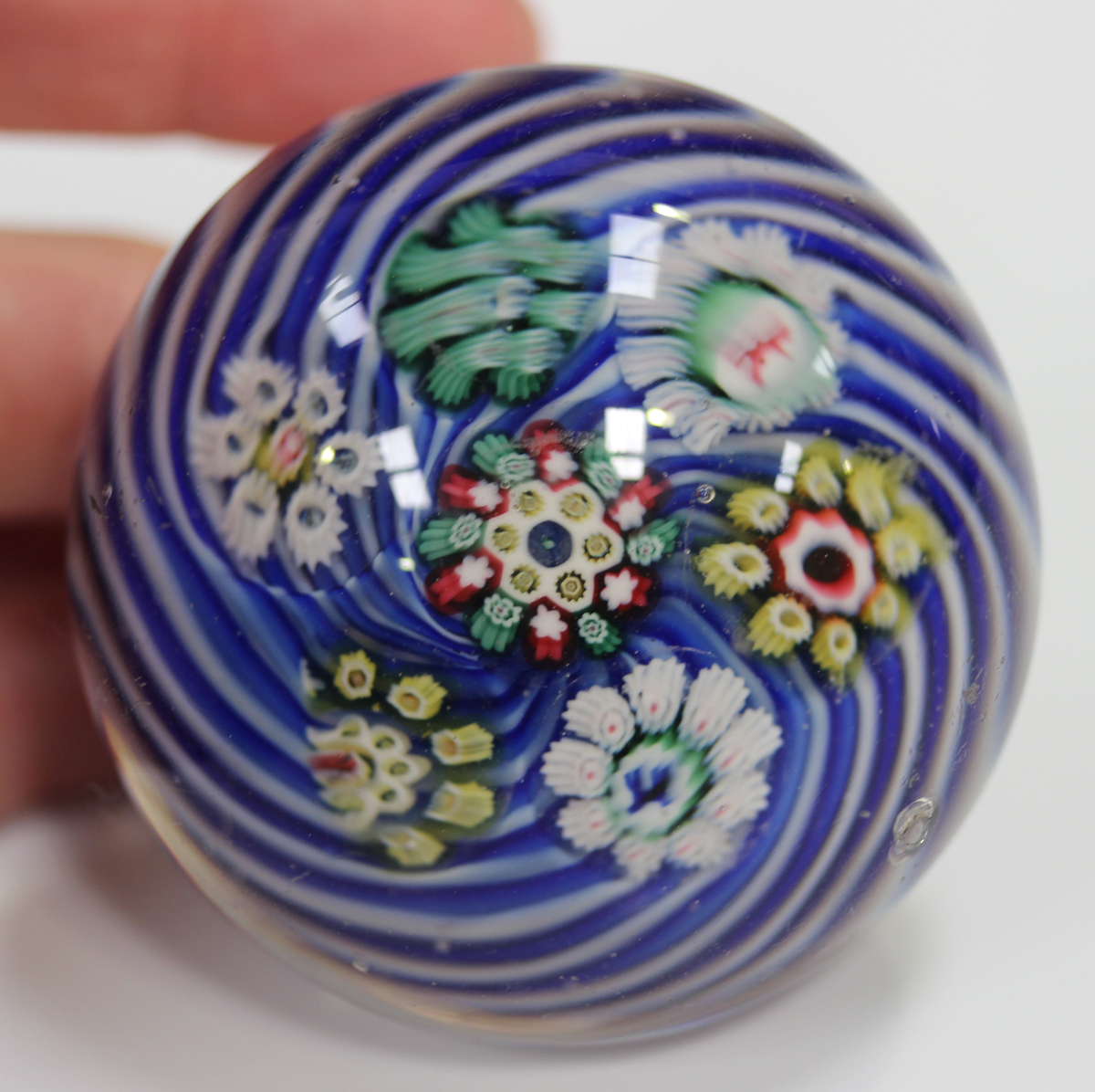 An unusual French paperweight, mid to late 19th century, possibly St Louis, arranged with six - Image 8 of 8