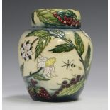 A Moorcroft Frost Garden pattern ginger jar and cover, designed by Nicola Slaney, circa 2000, height