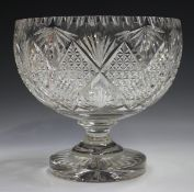A large cut glass punch bowl, early 20th century, the circular bowl with diamond shaped hobnail