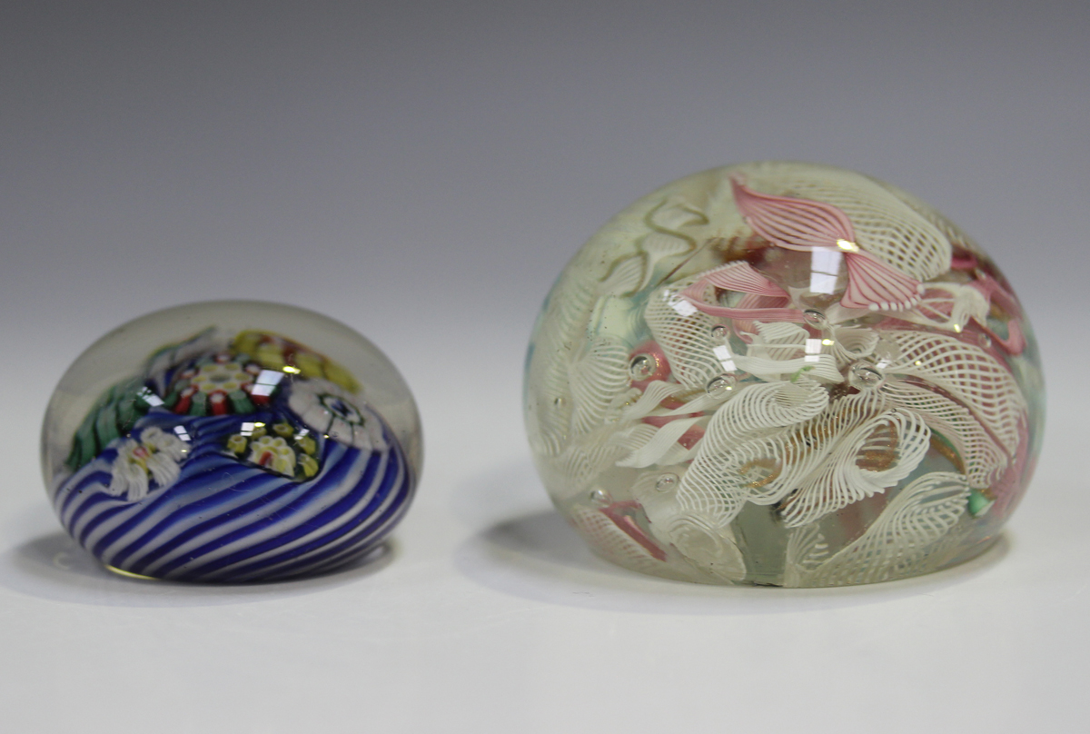 An unusual French paperweight, mid to late 19th century, possibly St Louis, arranged with six