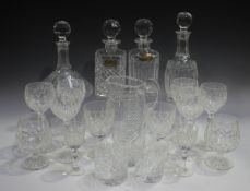 A part suite of Waterford Lismore pattern glassware, comprising eleven hock glasses, ten white wine,