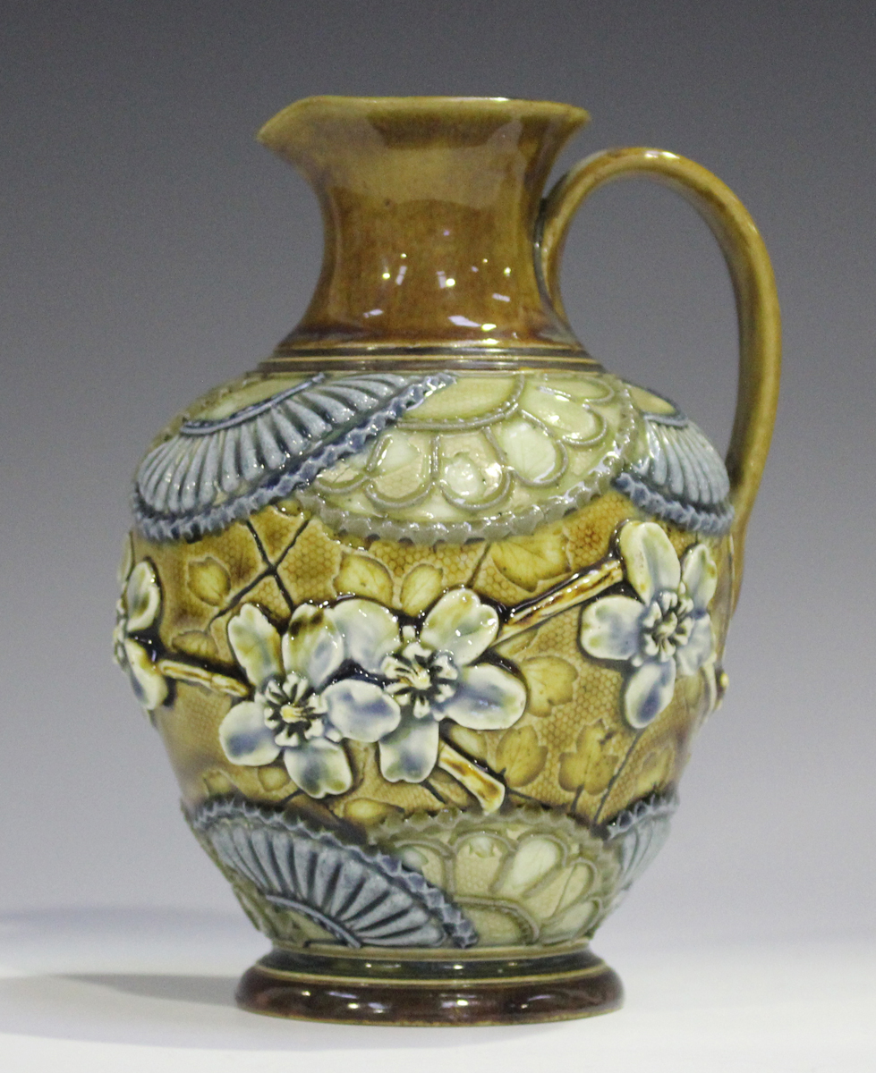 A Doulton Lambeth stoneware jug, 1880-1891, decorated in relief with flowers and stylized fan - Image 5 of 5