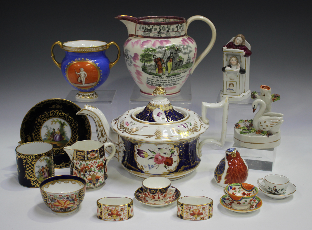 A mixed group of decorative ceramics, 19th century and later, including a Sunderland lustre