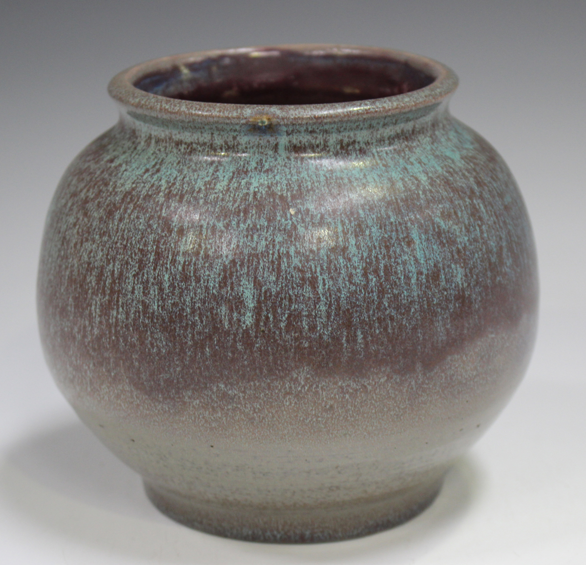 A studio pottery vase, early 21st century, of bulbous form, covered in a streaky purple and pale - Image 5 of 7