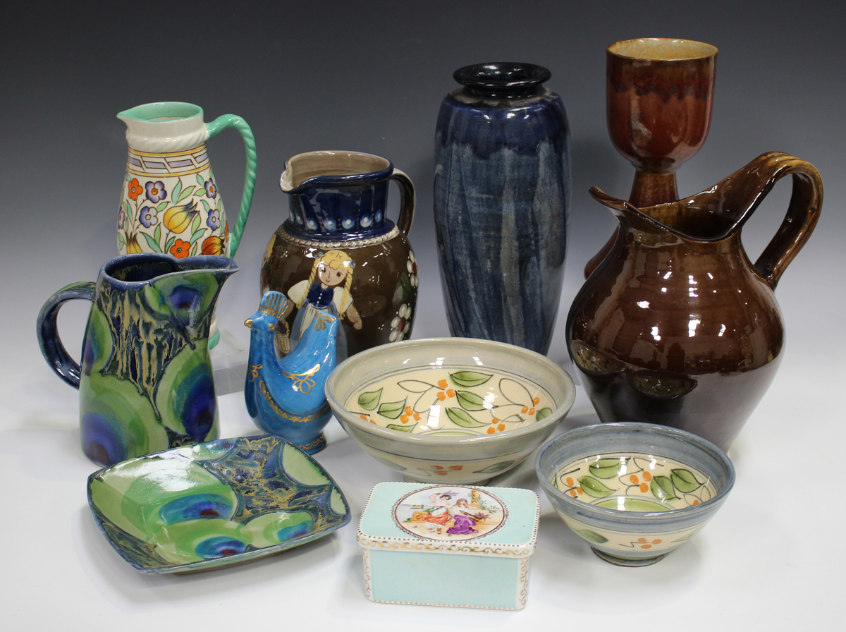 A small group of studio pottery, including a Bursley Ware Charlotte Rhead jug, painted with