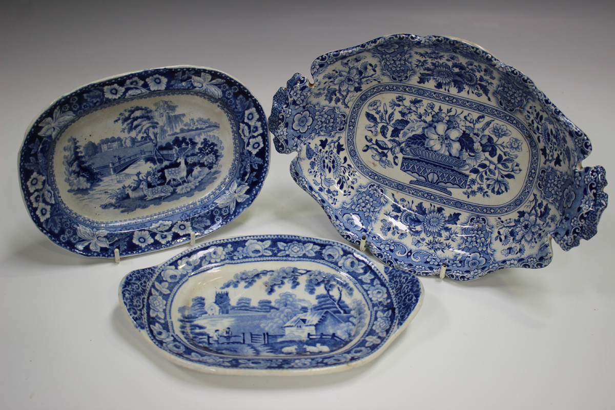 A mixed group of blue printed Staffordshire pottery, 19th century, including a Nuneham Courtenay ( - Image 3 of 5
