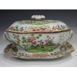 A Spode's New Stone soup tureen, cover and stand, circa 1840, printed and coloured with two
