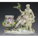 A Meissen figural potpourri, mid to late 18th century, modelled as Diana and Cupid accompanied by