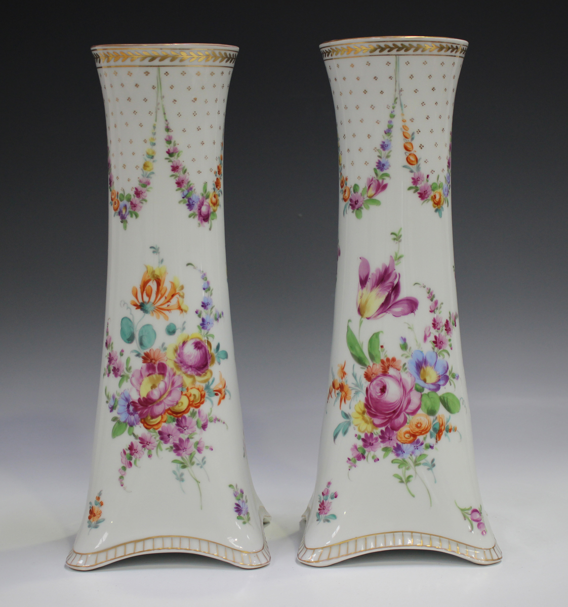 A pair of Dresden porcelain vases, mid-20th century, of cylindrical shape rising from square - Image 4 of 5