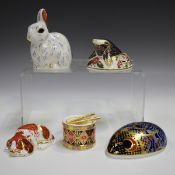 Two Royal Crown Derby Collector's Guild Imari paperweights, comprising Puppy and Mole, together with