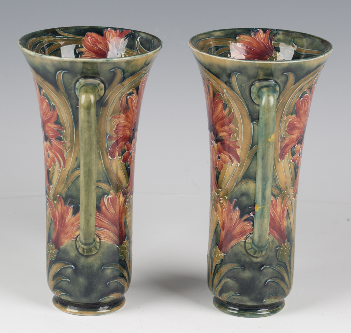A pair of James Macintyre & Co two-handled pottery vases, circa 1910-13, designed by William - Image 7 of 9