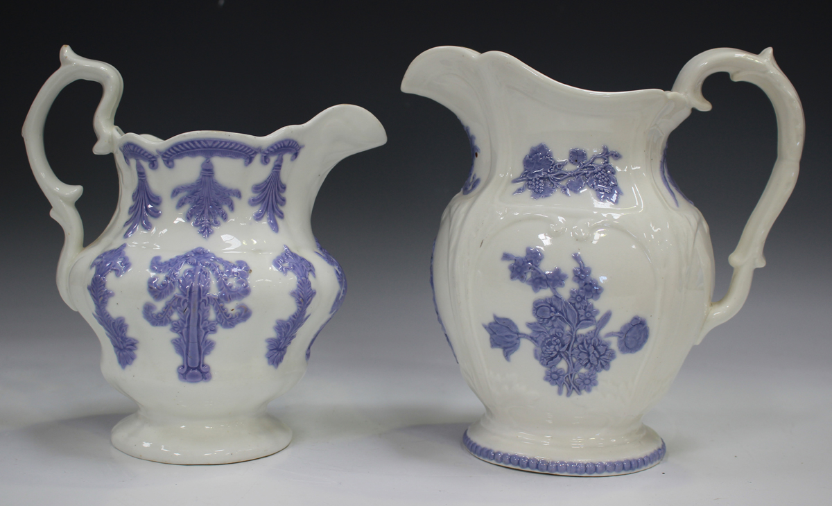 A large pearlware mottled pink lustre decorated mug, circa 1820, height 11.5cm, together with two - Image 11 of 13