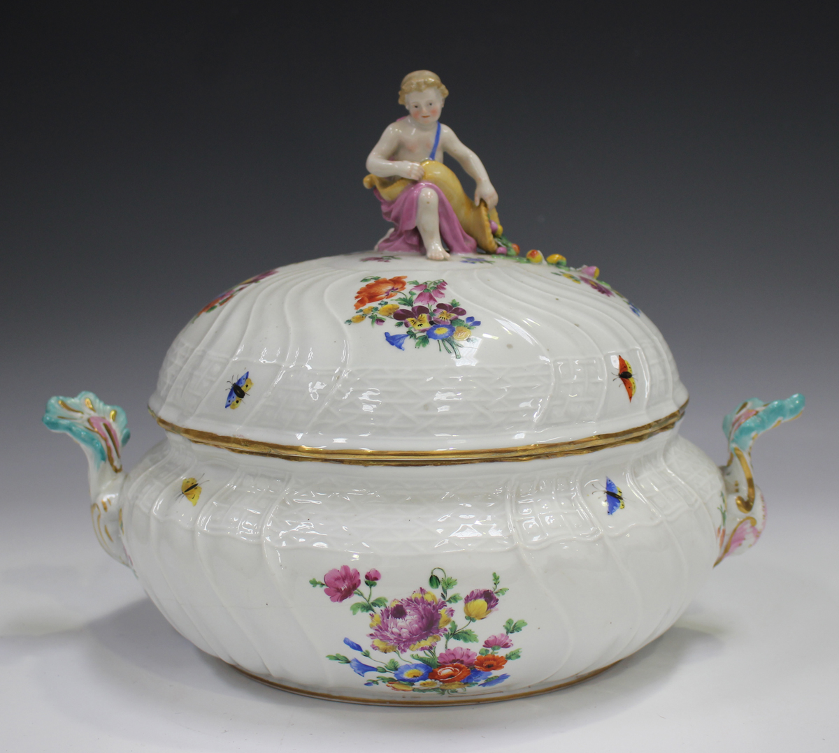 A Meissen porcelain circular tureen and cover, late 19th century, outside factory decorated, the