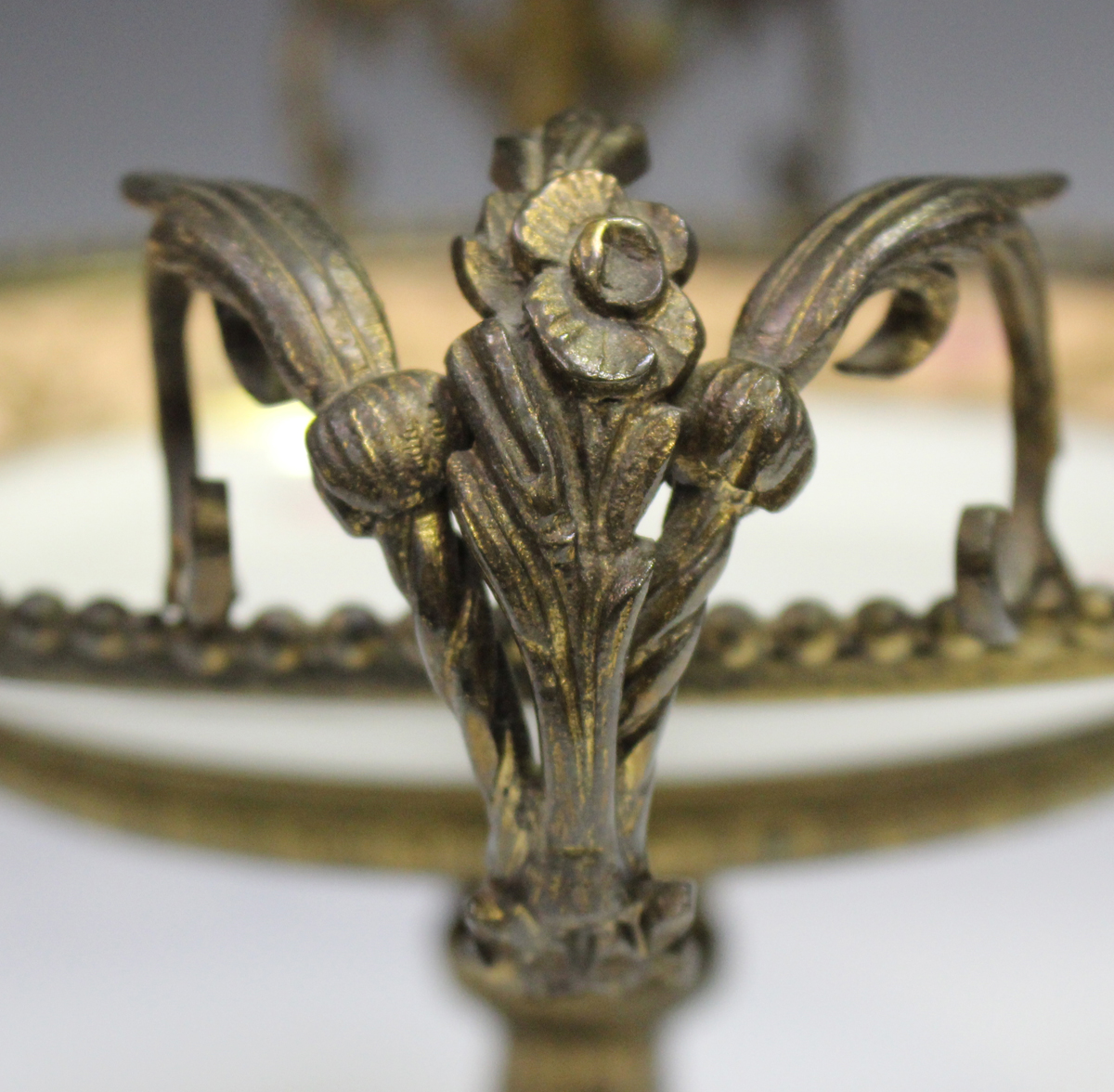 A gilt metal mounted porcelain tazza, late 19th/early 20th century, the apricot rimmed dish with - Image 9 of 10