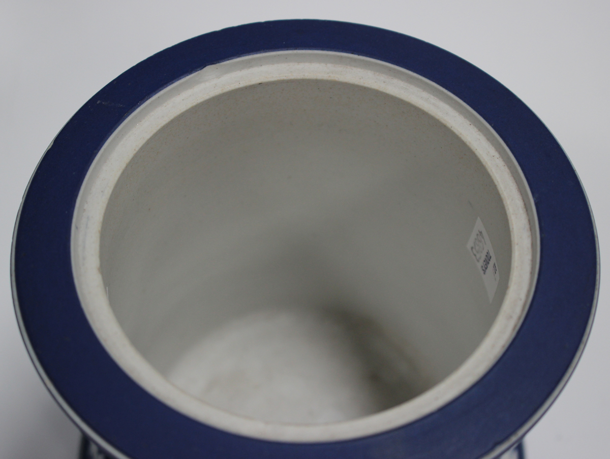 A Wedgwood dark blue jasper dip two-handled vase, early to mid-20th century, of tapered ovoid shape, - Image 3 of 4