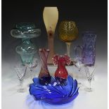 A group of decorative glassware, 20th century, including two Caithness 'Flamenco' pattern wine