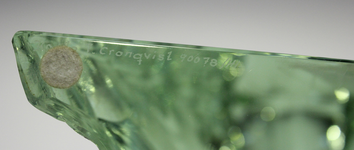 A Kosta Crystal Collection engraved glass sculpture by Tage Cronquist, depicting a sailing boat on a - Image 3 of 5