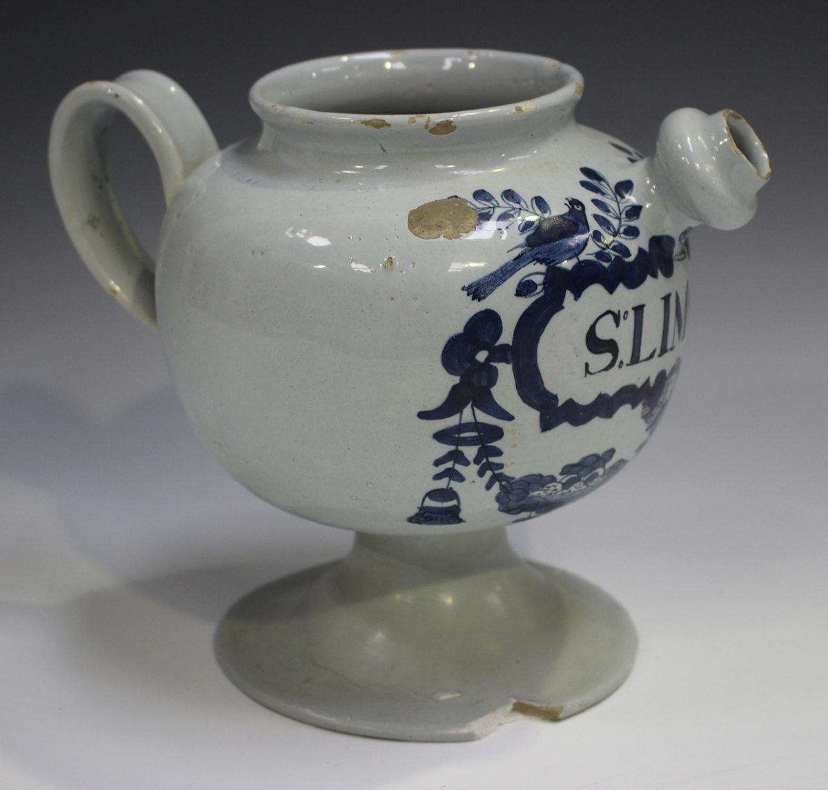 A Delft wet drug jar, 18th century, the globular body painted in blue with a cartouche, titled 'S: - Image 8 of 9