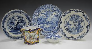 A mixed group of pottery and porcelain, 19th and 20th century, including a Baker, Bevans and Irwin