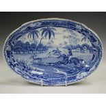 A Spode Indian Sporting Series blue printed oval dish, circa 1812-33, decorated with Hunting a Hog