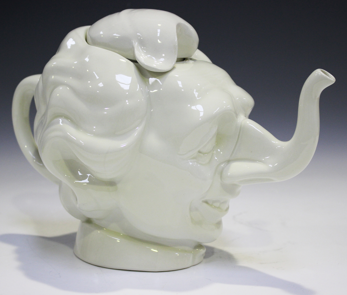 A Luck & Flaw novelty satirical teapot and cover in the form of Margaret Thatcher's head, white - Image 3 of 3