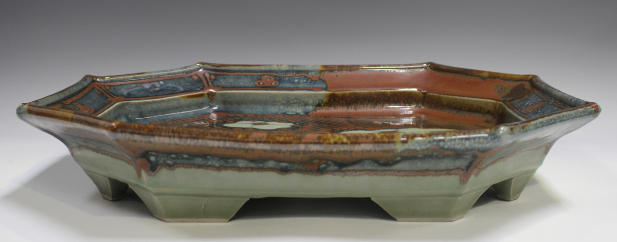 A David Frith studio pottery octagonal footed dish, the mottled blue and red/brown ground - Image 3 of 3