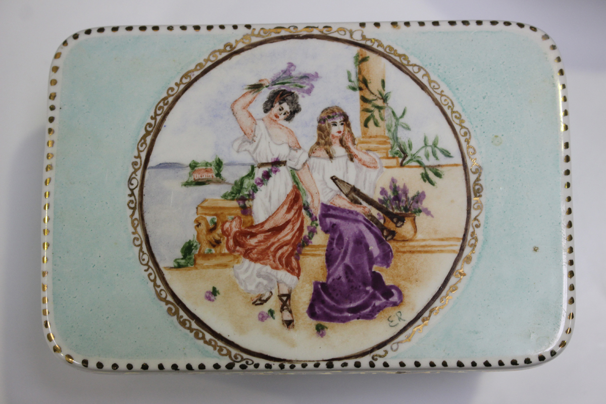 A small group of studio pottery, including a Bursley Ware Charlotte Rhead jug, painted with - Image 2 of 4