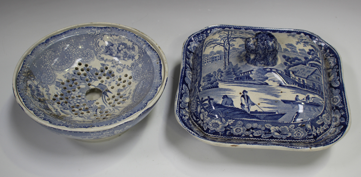 A mixed group of blue printed Staffordshire pottery, 19th century, including a Nuneham Courtenay ( - Image 5 of 5
