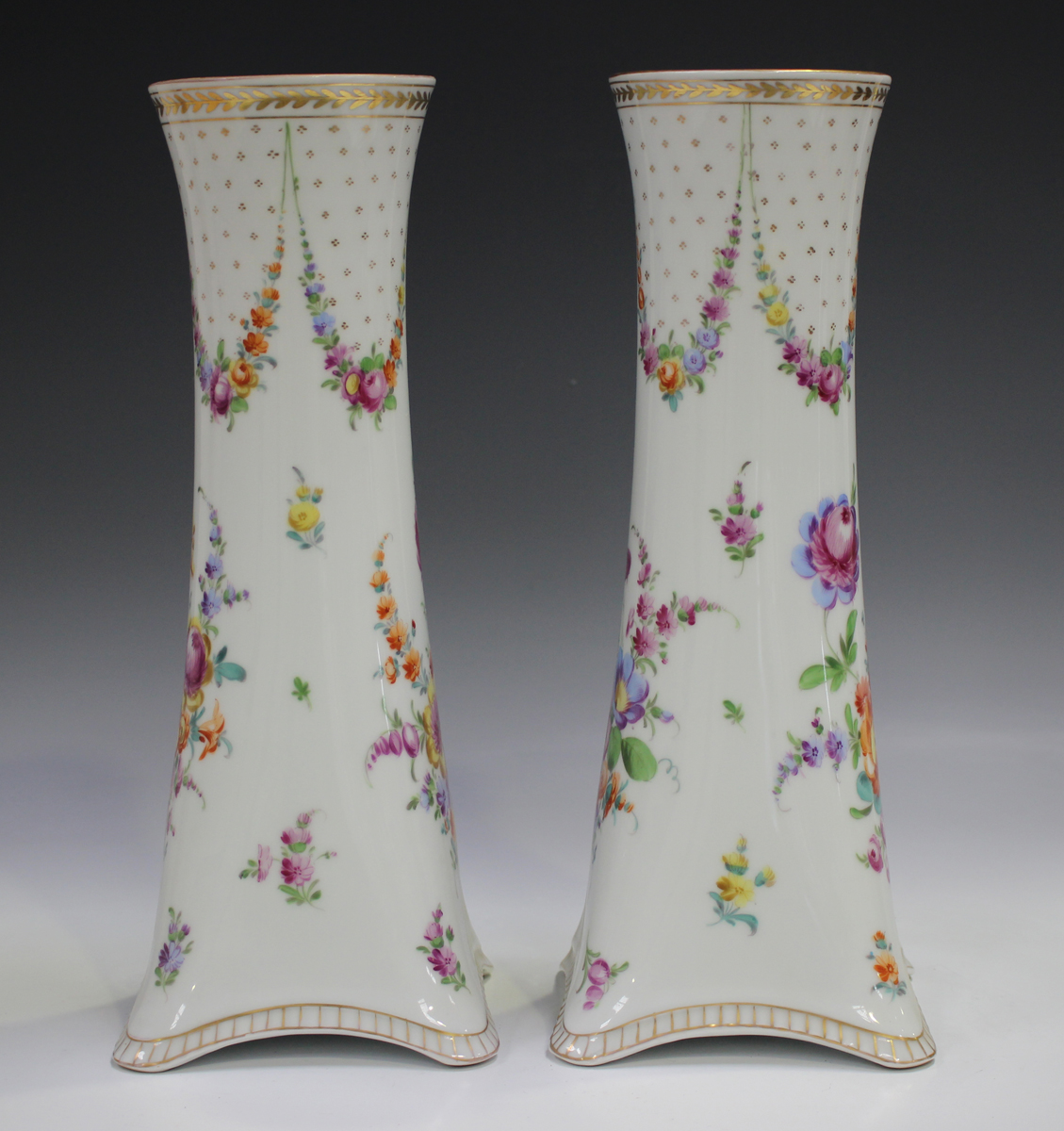 A pair of Dresden porcelain vases, mid-20th century, of cylindrical shape rising from square - Image 3 of 5