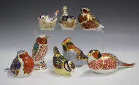 Eight Royal Crown Derby Imari palette bird paperweights, comprising Pheasant, Robin, Chaffinch, Blue