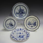 A Lambeth Delft plate, circa 1760, blue painted with a chinoiserie landscape, diameter 18.5cm,