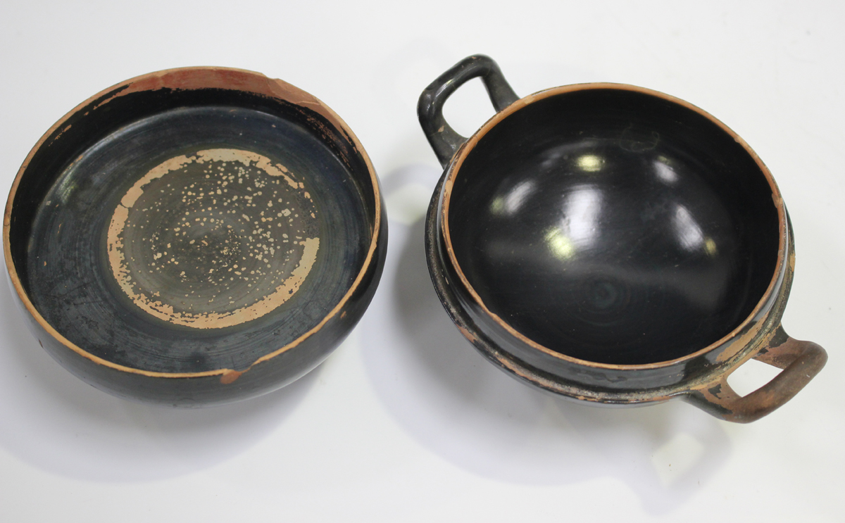 Six items of Attic style Grand Tour redware pottery, probably 19th century, including an askos in - Image 3 of 9