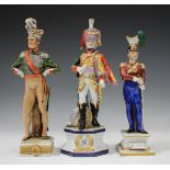 Three Capodimonte military figures, 20th century, including a titled figure of Prince Eugene, raised