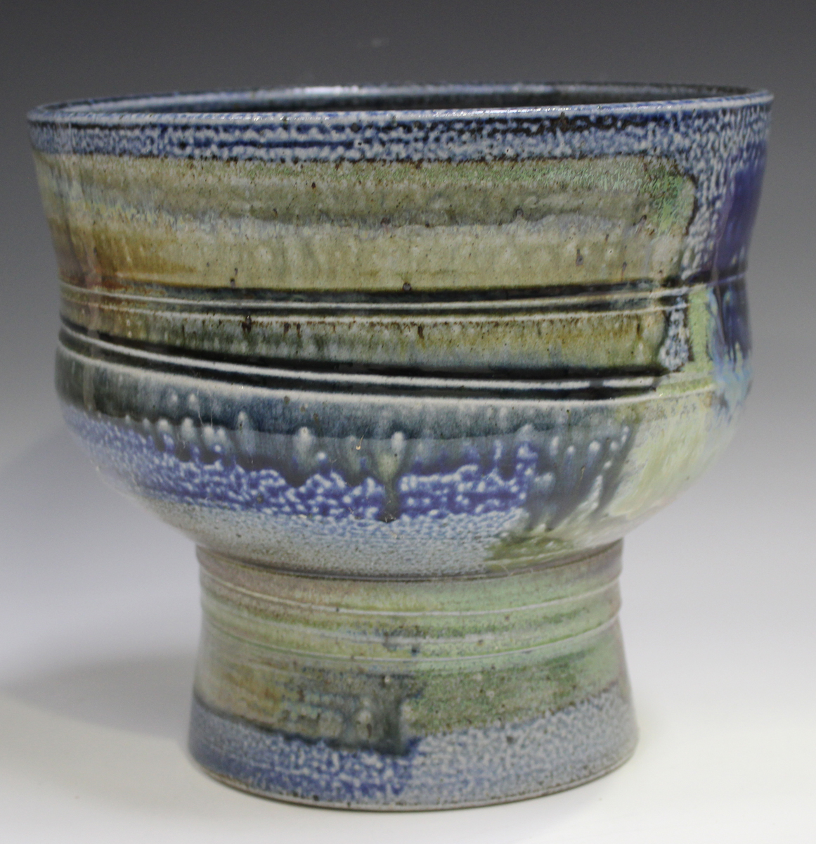 A large Jane Hamlyn studio pottery salt glazed footed bowl, decorated in shades of blue, green and - Image 6 of 7