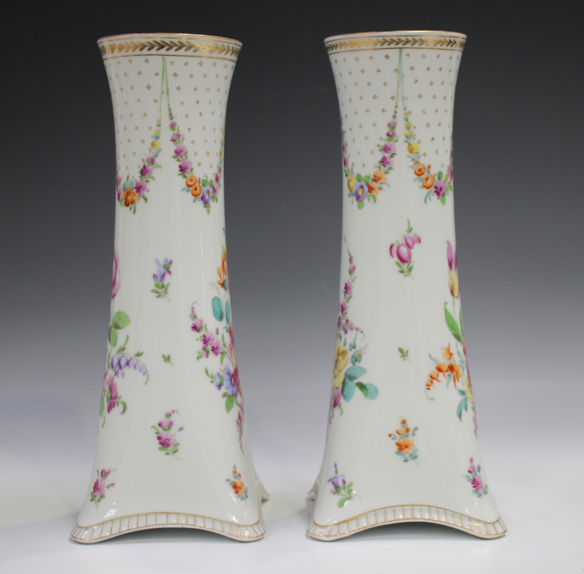 A pair of Dresden porcelain vases, mid-20th century, of cylindrical shape rising from square - Image 5 of 5