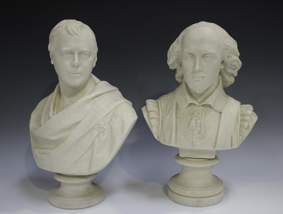 Two Copeland Parian Crystal Palace Art Union busts, second half 19th century, the first depicting
